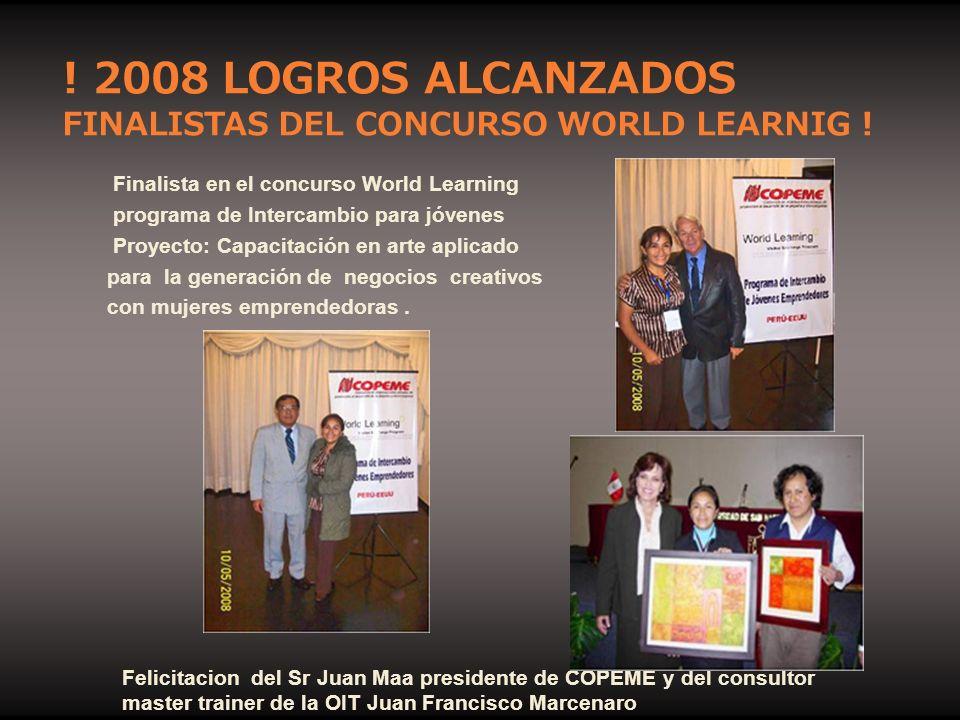 Finalista en el concurso World Learning programa de Intercambio para jóvenes Proyecto: Capacitación en arte aplicado para la generación de negocios cr