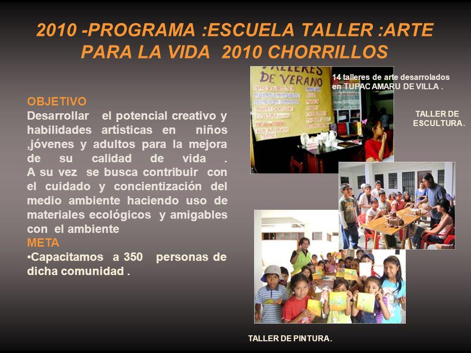 2010 -PROGRAMA :ESCUELA TALLER :ARTE PARA LA VIDA 2010 CHORRILLOS 14 talleres de arte desarrolados en TUPAC AMARU DE VILLA. TALLER DE ESCULTURA. TALLE