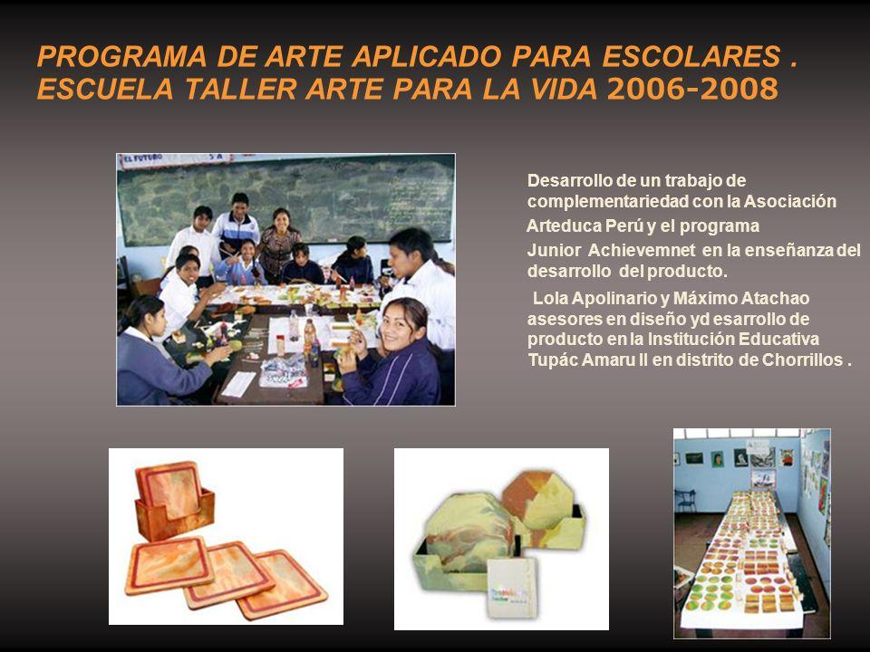 Desarrollo de un trabajo de complementariedad con la Asociación Arteduca Perú y el programa Junior Achievemnet en la enseñanza del desarrollo del prod