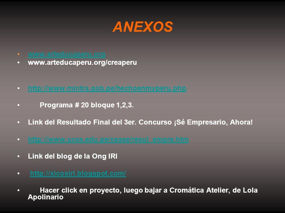 ANEXOS www.arteducaperu.orgwww.arteducaperu.org www.arteducaperu.org/creaperu http://www.mintra.gob.pe/hechoenmyperu.php Programa # 20 bloque 1,2,3. L