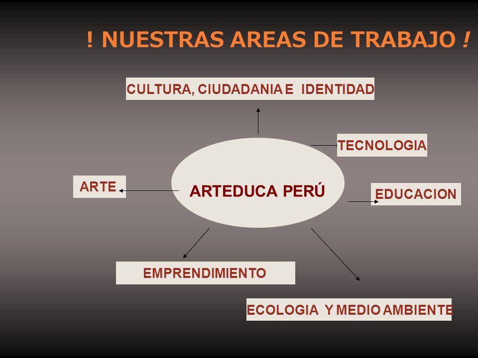 ! NUESTRAS AREAS DE TRABAJO ! ARTEDUCA PERÚ ARTE CULTURA, CIUDADANIA E IDENTIDAD EDUCACION EMPRENDIMIENTO ECOLOGIA Y MEDIO AMBIENTE TECNOLOGIA