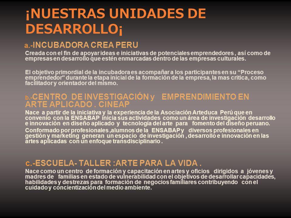 ¡NUESTRAS UNIDADES DE DESARROLLO¡ a.- INCUBADORA CREA PERU Creada con el fin de apoyar ideas e iniciativas de potenciales emprendedores, así como de e