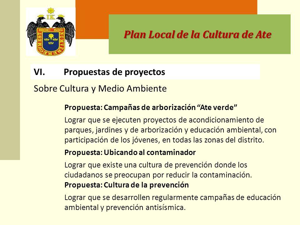 Plan Local de la Cultura de Ate VI.Propuestas de proyectos Propuesta: Campañas de arborización Ate verde Lograr que se ejecuten proyectos de acondicionamiento de parques, jardines y de arborización y educación ambiental, con participación de los jóvenes, en todas las zonas del distrito.