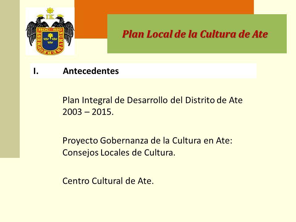 Plan Local de la Cultura de Ate II.Base legal y concordancias Ley Orgánica de Municipalidades.