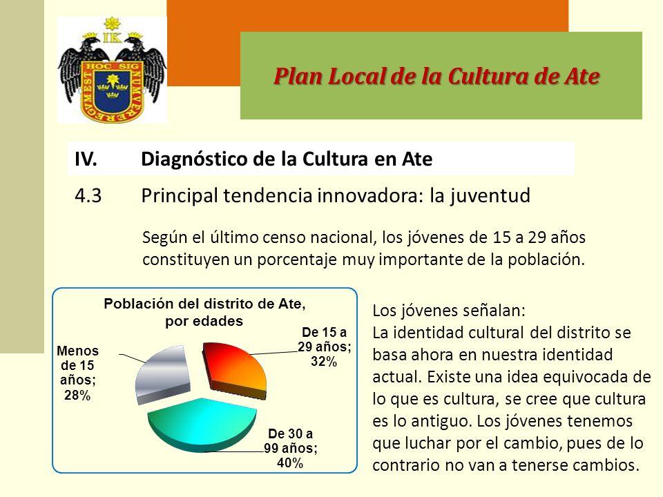 Plan Local de la Cultura de Ate Según el último censo nacional, los jóvenes de 15 a 29 años constituyen un porcentaje muy importante de la población.