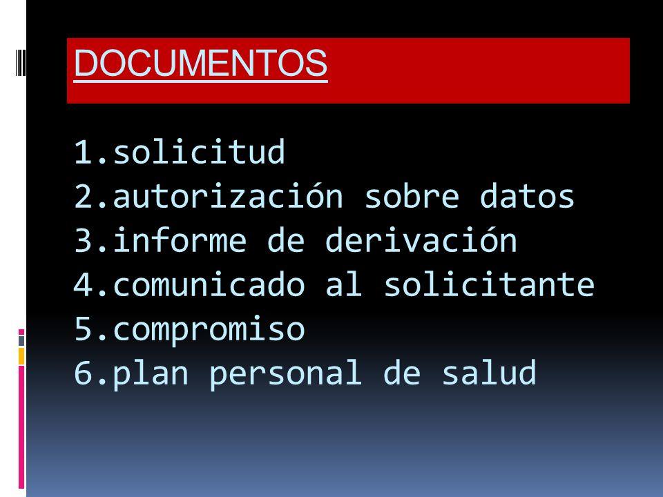 DOCUMENTOS 1.solicitud 2.autorización sobre datos 3.informe de derivación 4.comunicado al solicitante 5.compromiso 6.plan personal de salud