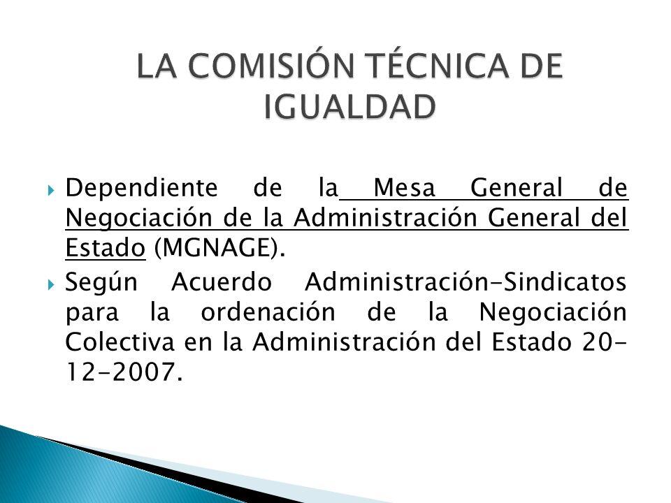 Dependiente de la Mesa General de Negociación de la Administración General del Estado (MGNAGE). Según Acuerdo Administración-Sindicatos para la ordena