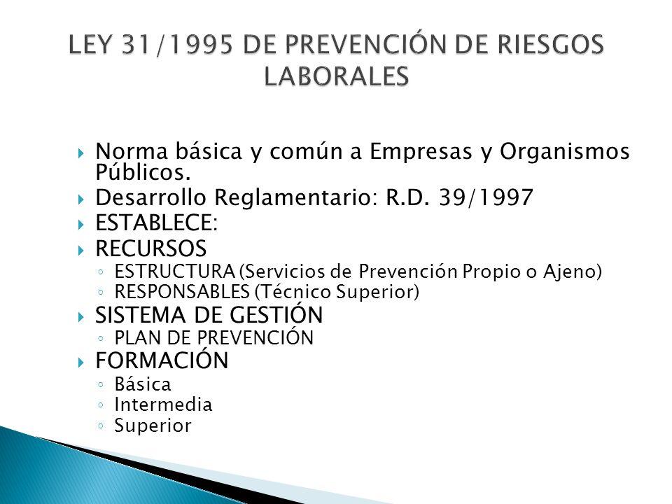 Norma básica y común a Empresas y Organismos Públicos. Desarrollo Reglamentario: R.D. 39/1997 ESTABLECE: RECURSOS ESTRUCTURA (Servicios de Prevención
