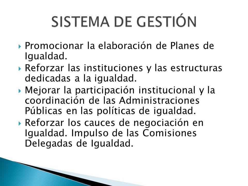 SISTEMA DE GESTIÓN Promocionar la elaboración de Planes de Igualdad. Reforzar las instituciones y las estructuras dedicadas a la igualdad. Mejorar la