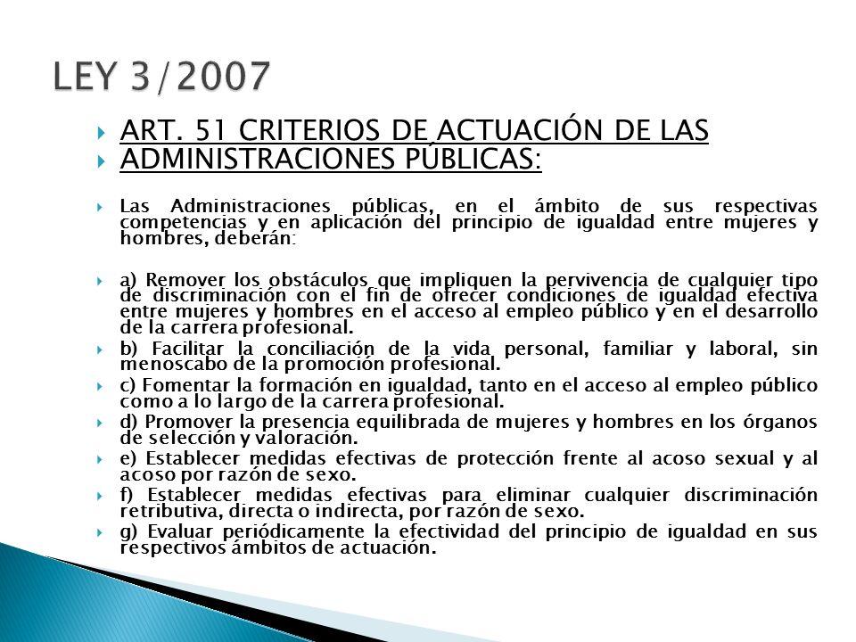 ART. 51 CRITERIOS DE ACTUACIÓN DE LAS ADMINISTRACIONES PÚBLICAS: Las Administraciones públicas, en el ámbito de sus respectivas competencias y en apli