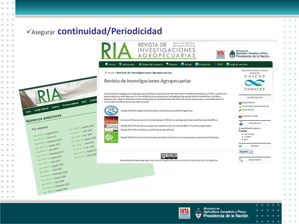 Asegurar continuidad/Periodicidad