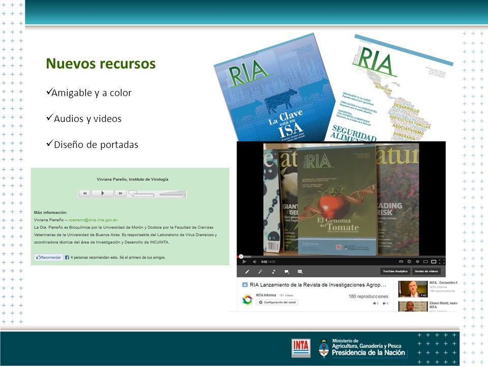 Nuevos recursos Amigable y a color Audios y videos Diseño de portadas