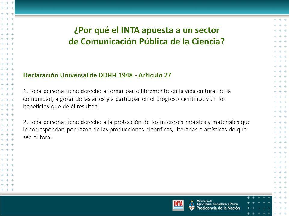 ¿Por qué el INTA apuesta a un sector de Comunicación Pública de la Ciencia.