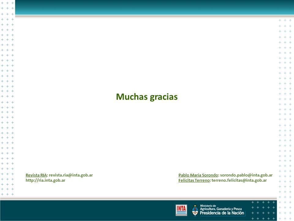 Muchas gracias Pablo María Sorondo: sorondo.pablo@inta.gob.ar Felicitas Terreno: terreno.felicitas@inta.gob.ar Revista RIA: revista.ria@inta.gob.ar http://ria.inta.gob.ar