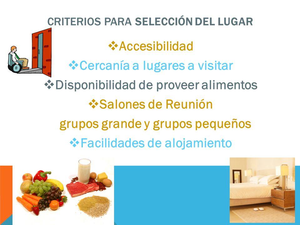 CRITERIOS PARA SELECCIÓN DEL LUGAR Accesibilidad Cercanía a lugares a visitar Disponibilidad de proveer alimentos Salones de Reunión grupos grande y g