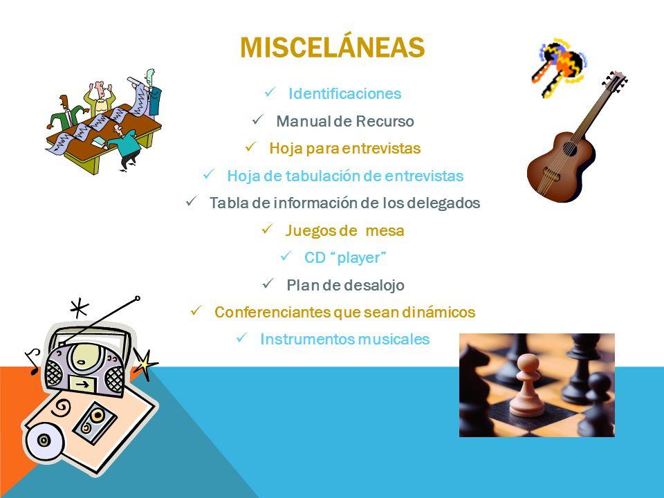 MISCELÁNEAS Identificaciones Manual de Recurso Hoja para entrevistas Hoja de tabulación de entrevistas Tabla de información de los delegados Juegos de
