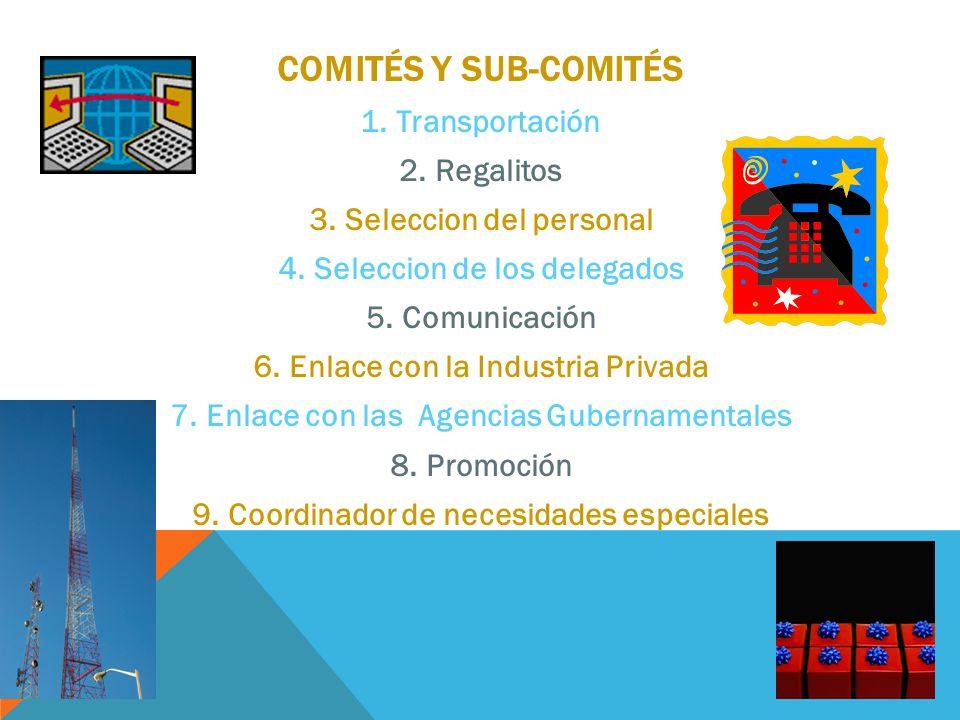 COMITÉS Y SUB-COMITÉS 1.Transportación 2.Regalitos 3.Seleccion del personal 4.Seleccion de los delegados 5.Comunicación 6.Enlace con la Industria Priv