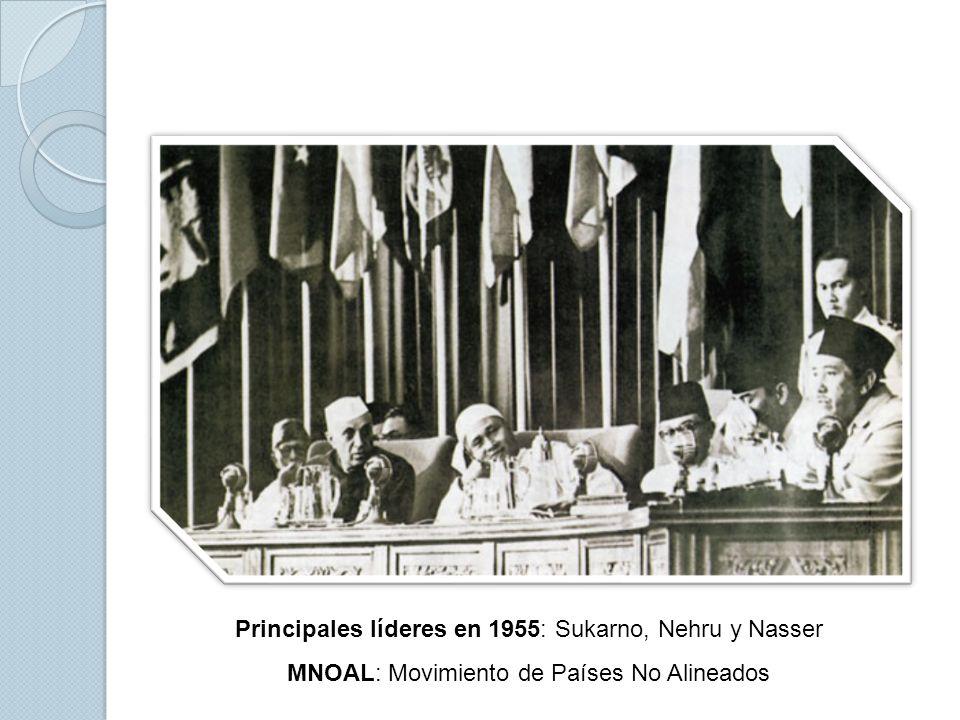 Principales líderes en 1955: Sukarno, Nehru y Nasser MNOAL: Movimiento de Países No Alineados