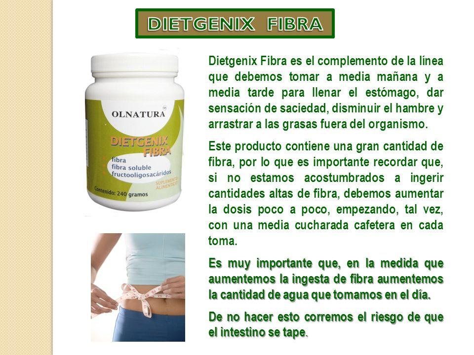 Dietgenix Fibra es el complemento de la línea que debemos tomar a media mañana y a media tarde para llenar el estómago, dar sensación de saciedad, disminuir el hambre y arrastrar a las grasas fuera del organismo.