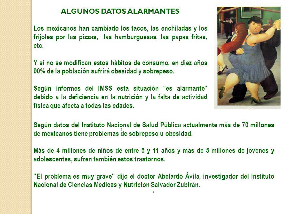 ALGUNOS DATOS ALARMANTES Los mexicanos han cambiado los tacos, las enchiladas y los frijoles por las pizzas, las hamburguesas, las papas fritas, etc.