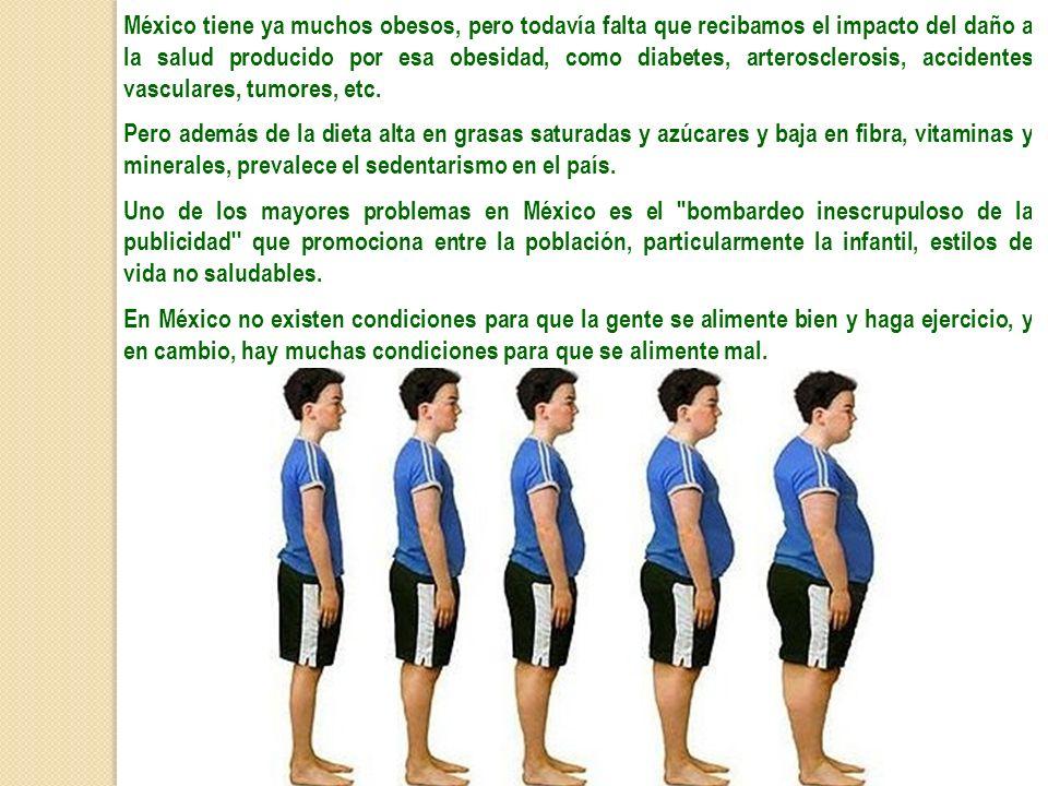 México tiene ya muchos obesos, pero todavía falta que recibamos el impacto del daño a la salud producido por esa obesidad, como diabetes, arterosclerosis, accidentes vasculares, tumores, etc.