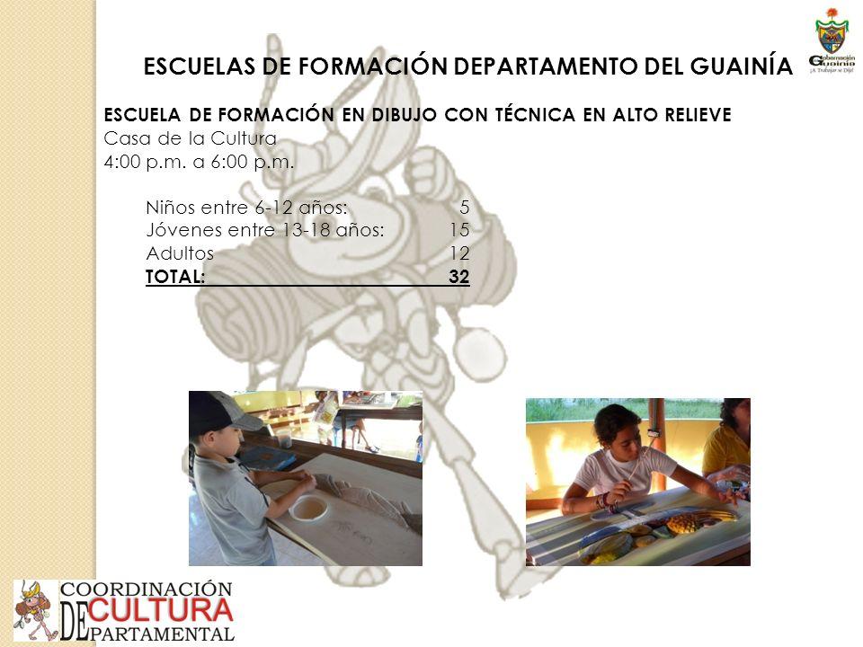 ESCUELAS DE FORMACIÓN DEPARTAMENTO DEL GUAINÍA ESCUELA DE FORMACIÓN EN DIBUJO CON TÉCNICA EN ALTO RELIEVE Casa de la Cultura 4:00 p.m.