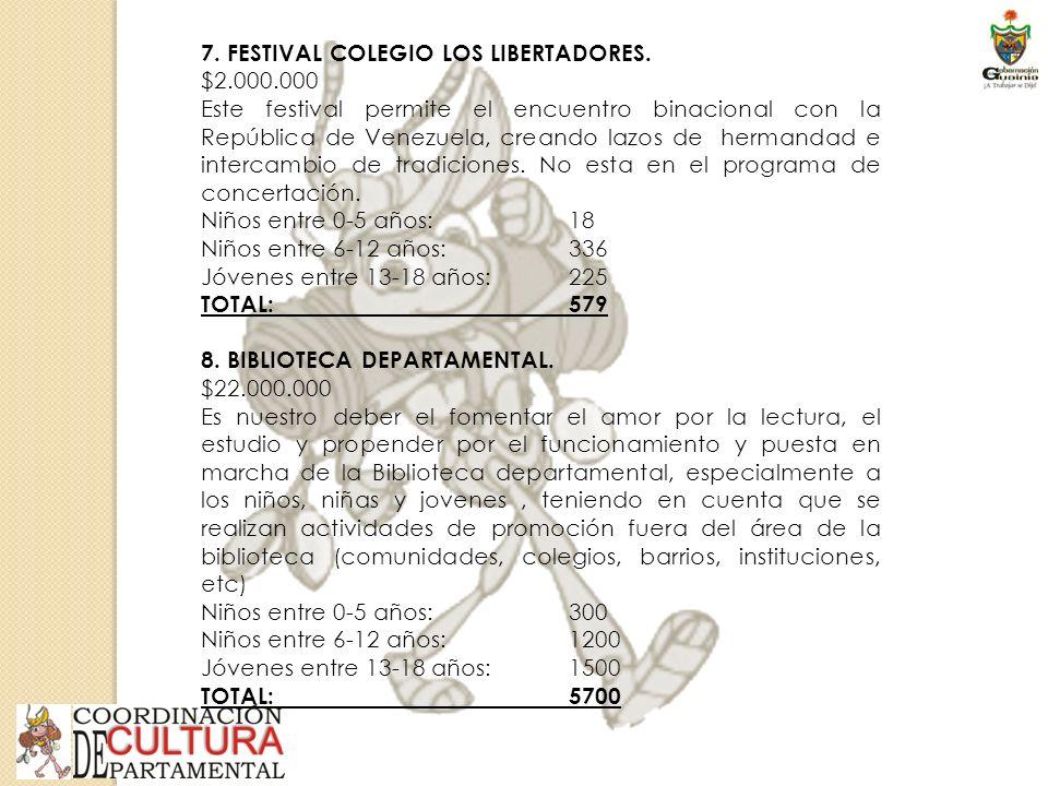 7. FESTIVAL COLEGIO LOS LIBERTADORES.
