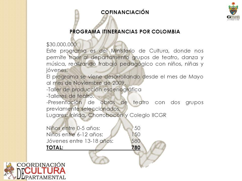 COFINANCIACIÓN PROGRAMA ITINERANCIAS POR COLOMBIA $30.000.000 Este programa es del Ministerio de Cultura, donde nos permite traer al departamento grupos de teatro, danza y música, realizando trabajo pedagógico con niños, niñas y jóvenes.