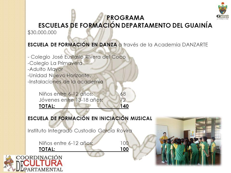 PROGRAMA ESCUELAS DE FORMACIÓN DEPARTAMENTO DEL GUAINÍA $30.000.000 ESCUELA DE FORMACIÓN EN DANZA a través de la Academia DANZARTE - Colegio José Eustasio Rivera del Coco -Colegio La Primavera -Adulto Mayor -Unidad Nuevo Horizonte.