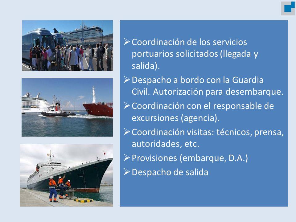 Coordinación de los servicios portuarios solicitados (llegada y salida). Despacho a bordo con la Guardia Civil. Autorización para desembarque. Coordin