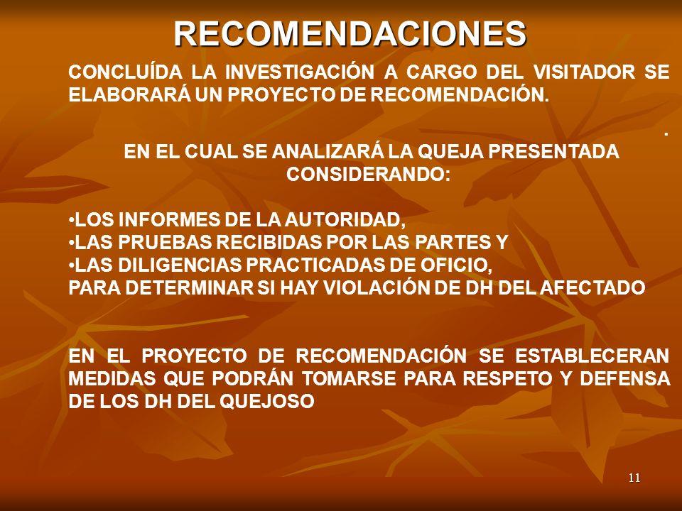 11 RECOMENDACIONES CONCLUÍDA LA INVESTIGACIÓN A CARGO DEL VISITADOR SE ELABORARÁ UN PROYECTO DE RECOMENDACIÓN.. EN EL CUAL SE ANALIZARÁ LA QUEJA PRESE