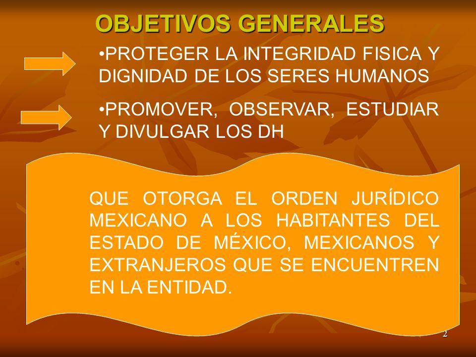 2 OBJETIVOS GENERALES PROTEGER LA INTEGRIDAD FISICA Y DIGNIDAD DE LOS SERES HUMANOS PROMOVER, OBSERVAR, ESTUDIAR Y DIVULGAR LOS DH QUE OTORGA EL ORDEN