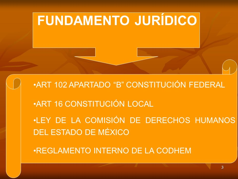 3 ART 102 APARTADO B CONSTITUCIÓN FEDERAL ART 16 CONSTITUCIÓN LOCAL LEY DE LA COMISIÓN DE DERECHOS HUMANOS DEL ESTADO DE MÉXICO REGLAMENTO INTERNO DE