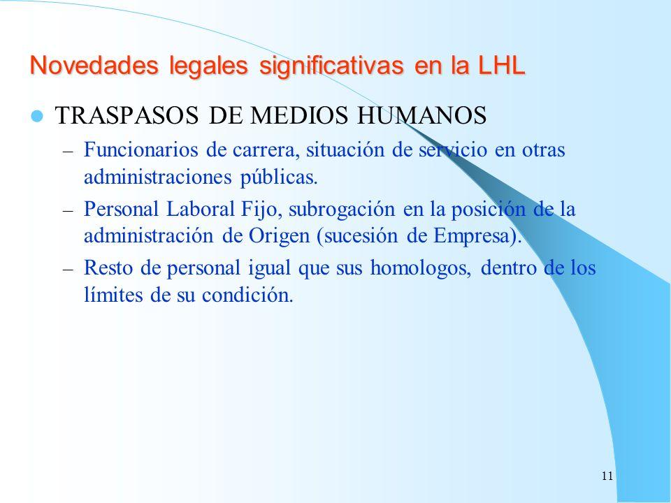 Novedades legales significativas en la LHL TRASPASOS DE MEDIOS HUMANOS – Funcionarios de carrera, situación de servicio en otras administraciones públ