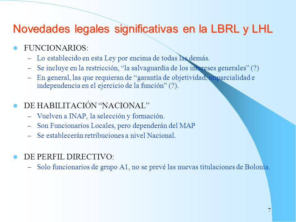 Novedades legales significativas en la LBRL y LHL FUNCIONARIOS: – Lo establecido en esta Ley por encima de todas las demás. – Se incluye en la restric