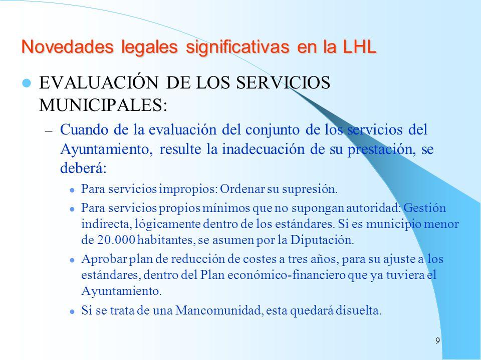Novedades legales significativas en la LHL EVALUACIÓN DE LOS SERVICIOS MUNICIPALES: – Cuando de la evaluación del conjunto de los servicios del Ayunta