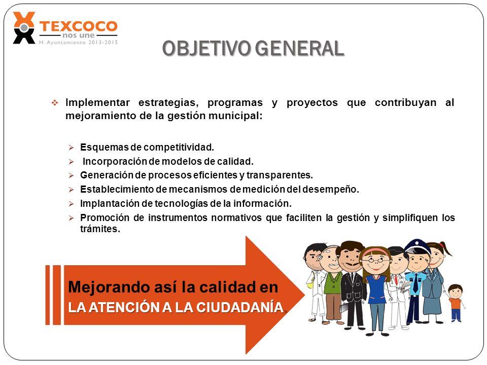 OBJETIVO GENERAL Implementar estrategias, programas y proyectos que contribuyan al mejoramiento de la gestión municipal: Esquemas de competitividad. I
