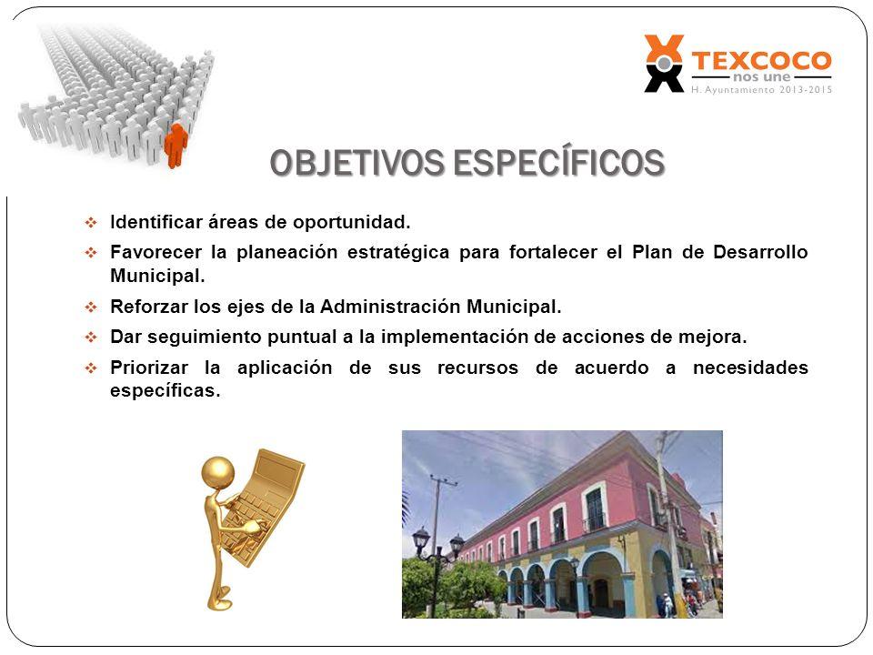 OBJETIVOS ESPECÍFICOS Identificar áreas de oportunidad. Favorecer la planeación estratégica para fortalecer el Plan de Desarrollo Municipal. Reforzar
