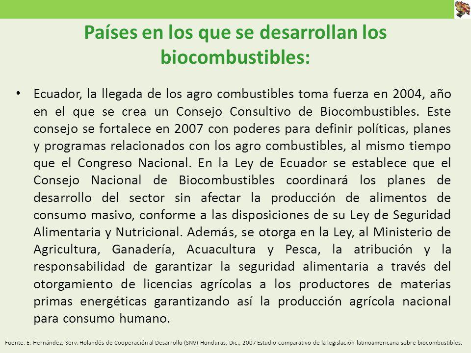Ecuador, la llegada de los agro combustibles toma fuerza en 2004, año en el que se crea un Consejo Consultivo de Biocombustibles.