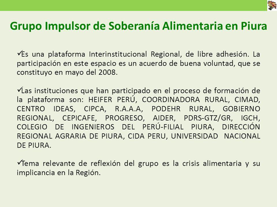 Grupo Impulsor de Soberanía Alimentaria en Piura Es una plataforma Interinstitucional Regional, de libre adhesión.