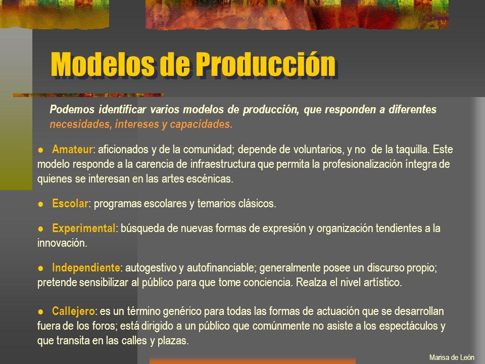 Modelos de Producción Podemos identificar varios modelos de producción, que responden a diferentes necesidades, intereses y capacidades.