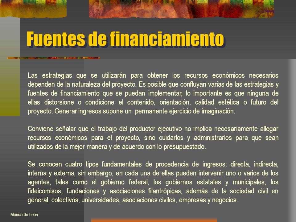 Fuentes de financiamiento Las estrategias que se utilizarán para obtener los recursos económicos necesarios dependen de la naturaleza del proyecto.