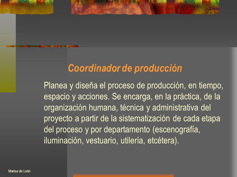 Coordinador de producción Planea y diseña el proceso de producción, en tiempo, espacio y acciones.