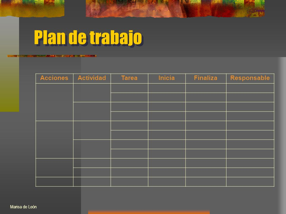 Plan de trabajo AccionesActividadTareaIniciaFinalizaResponsable Marisa de León