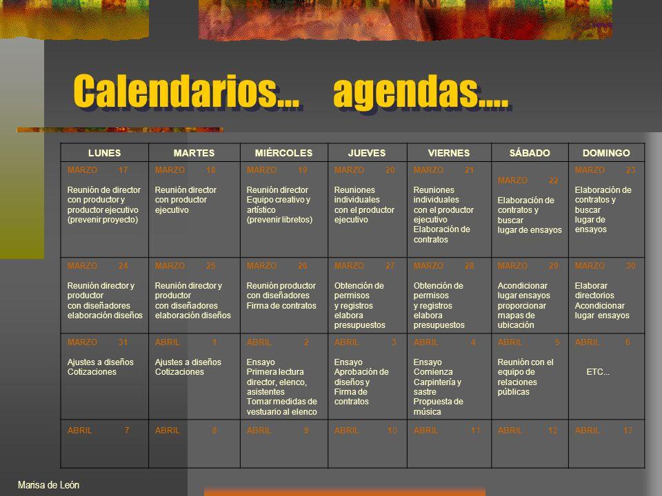 Calendarios… agendas….