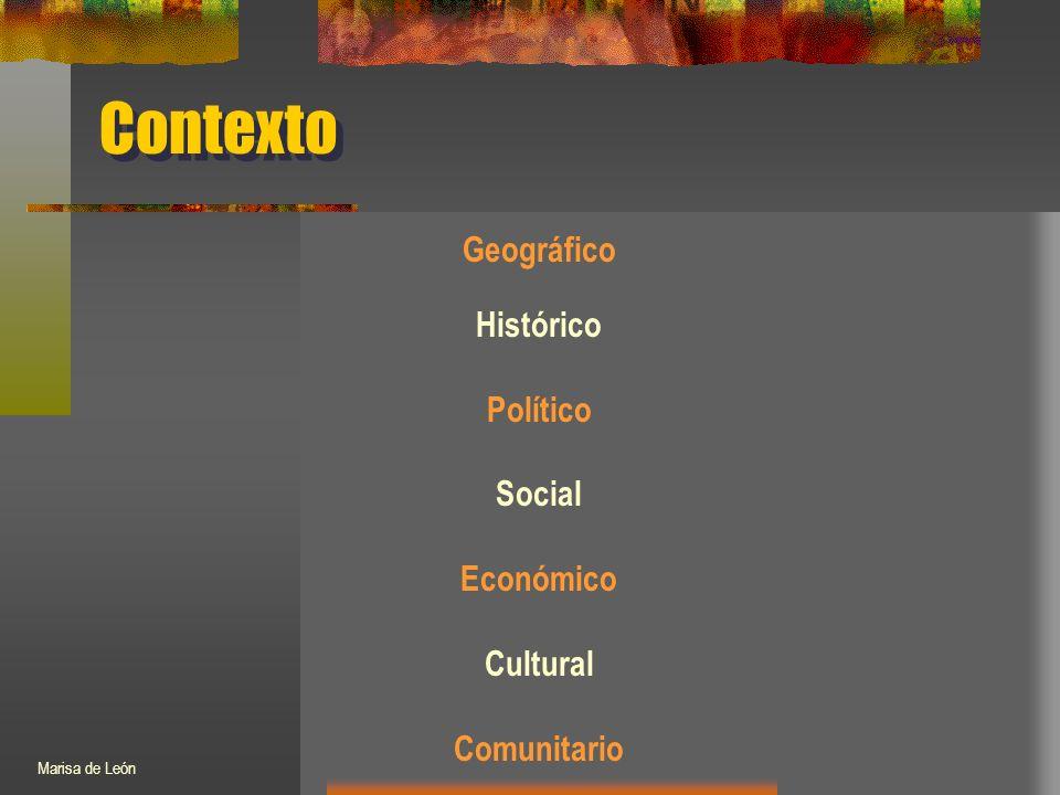 Contexto Geográfico Histórico Político Social Económico Cultural Comunitario Marisa de León