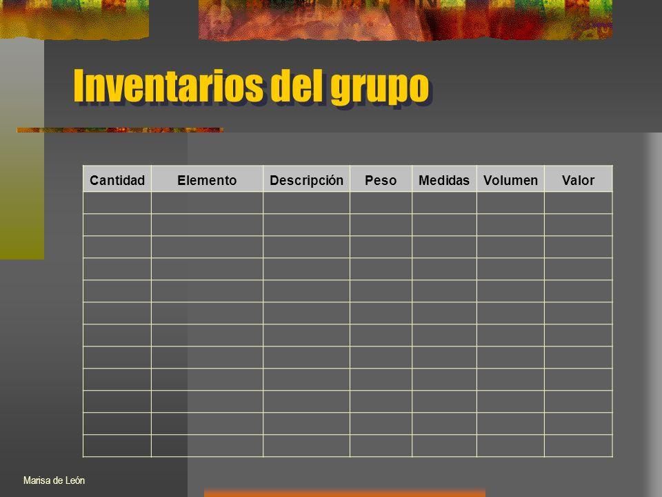 Inventarios del grupo CantidadElementoDescripciónPesoMedidasVolumenValor Marisa de León