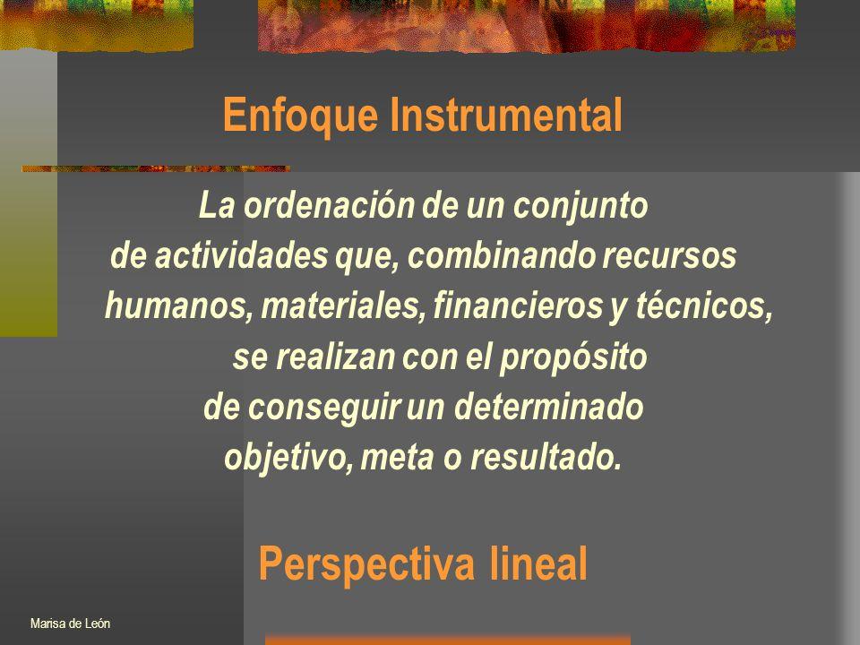 Enfoque Instrumental La ordenación de un conjunto de actividades que, combinando recursos humanos, materiales, financieros y técnicos, se realizan con el propósito de conseguir un determinado objetivo, meta o resultado.