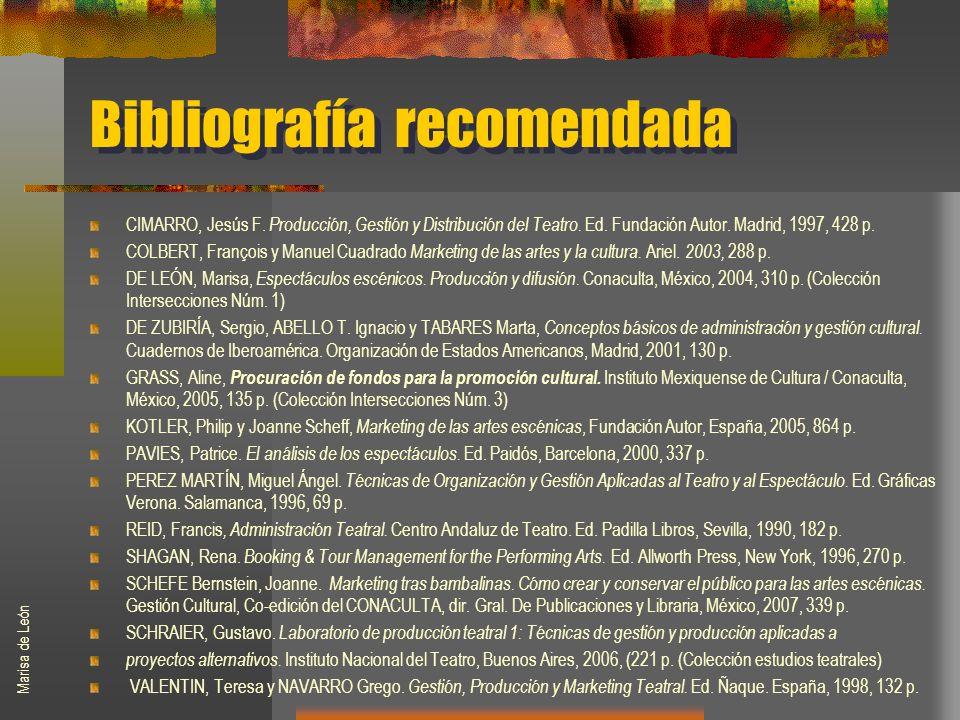 Bibliografía recomendada CIMARRO, Jesús F. Producción, Gestión y Distribución del Teatro.