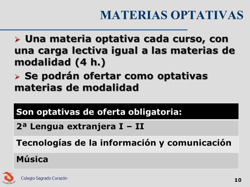 MATERIAS OPTATIVAS Son optativas de oferta obligatoria: 2ª Lengua extranjera I – II Tecnologías de la información y comunicación Música Colegio Sagrad